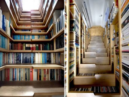 There are books even in the stairs.