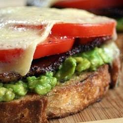 Bacon, Avocado, Tomato and Cheese Sandwich.