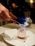 Whiskey flambé meringue with chestnut and vanilla ice cream.