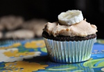 """The """"Elvis"""" Cupcake (Peanut Butter Frosting, Banana and Chocolate.)"""